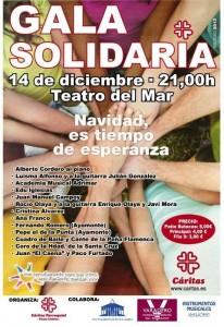 Cartel de la Gala Solidaria a beneficio de cáritas.