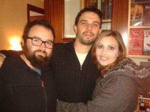 José David Díaz, Alosno Quintero Boza y Mamen Llanes, el primer día de rodaje de 'Horcajo'.