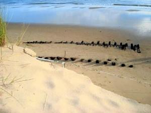 Aspecto inicial de los restos del pecio en la playa. / Foto: IAPH.