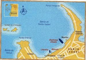 Bahia de Santa Isabel y situación de los buques del Eje.