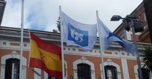 La bandera del 125 Aniversario del Recre, en el cielo de Huelva. / Foto: www.recreativohuelva.com.