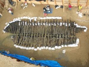 Imagen del pecio de Matagrana, aparecido en El Portil.