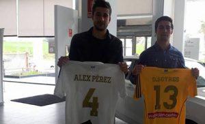 Álex Përez y Dani Sotres, en su presentación como jugadores del Recre.