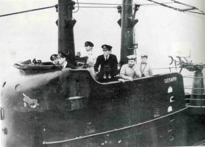 Submarino SHERAP que trajo el cadáver desde Holly Loch hasta la costa de Huelva. / Foto: Diego Lopa.
