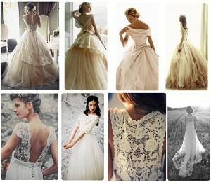 Arriba, tendencia vestidos princesa. Abajo: tendencia vestidos románticos.