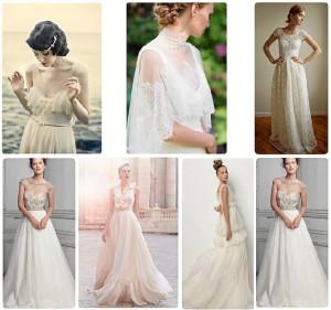 Arriba: tendencia vestidos vitage. Abajo: tendencia vestidos sofisticados.