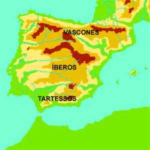 Mapa de la Península Ibérica antes de la llegada de los romanos a Hispania.