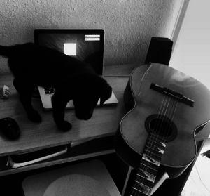 El rincón en el que compone sus canciones, acompañado siempre de su perro y su guitarra.