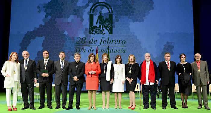 Foto de familia de los premiados este 28 de febrero. /