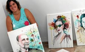 Paywoken, con el retrato realizado a Juan Ramón.
