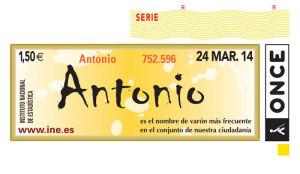 El 24 de marzo el cupón de la Once estará dedicado a todos los Antonio de España.