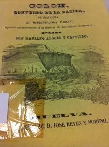 Portada del Escrito del Gobernador Alonso que se encuentra en la Biblioteca Provincial e Huelva.