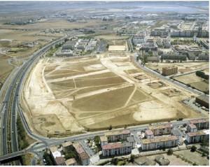 Yacimiento arqueológico del Seminario de Huelva. / Vista aérea desde el Noroeste del yacimiento de la Orden–Seminario (Huelva). AIRGERMA.