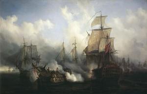 Pintura de Auguste Mayer que reproduce la Batalla de Trafalgar.