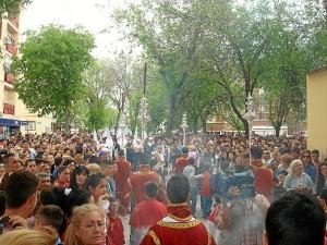 Imagen de la Plaza del Perdón ante la salida de esta hermandad del Lunes Santo de Huelva.