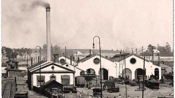 Talleres Huelva, de la Compañía Rio Tinto, situados en El Punto, en la década de los 60 del siglo XX