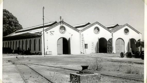 Talleres Huelva de la Compañía Rio Tinto, en El Punto, en la década de los 50 del pasado siglo XX