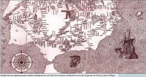 Mapa de las costas del sur de la Península a mediados del siglo XVI. / Foto: http://alongarvi.blogspot.com.es/