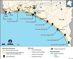 Mapa del litoral donde se localizan las torres almenaras. / Foto: turismo.org.