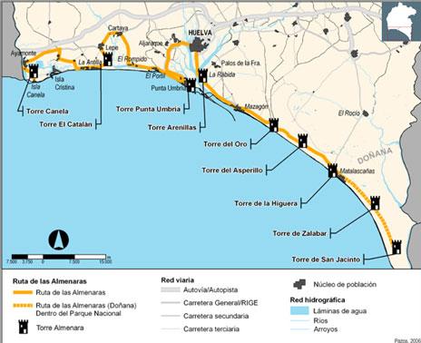 Mapa De Huelva Costa.Las Torres Almenaras Disenadas Por Felipe Ii En La Costa De Huelva Huelva Buenas Noticias