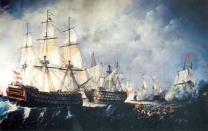 Recreación de la batalla Cabo de San Vicente, de Antonio Brugada, en la que participó el navío Conde de Regla./FOTO: wikipedia.org