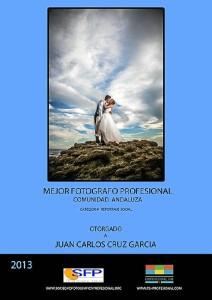Reconocimiento del premio en Andalucía a la mejor foto en la categoría social.
