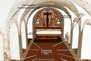 Simulación libre de la ornamentación de la cripta. / Foto: Adolfo Morales.