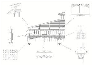 Detalles ornamentales neoclásicos, característicos de las grandes obras de finales del XIX, abundan en esta construcción. Delineación: Concepción Besteiro.