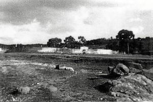 Imagen antigua de la plaza de toros en Campofrío.