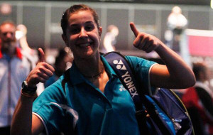 Carolina Marín, muy contenta tras acceder a las semifinales en el Mundial.