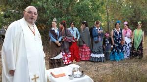 Misa de la hermandad de Bruselas celebrada este viernes en El Rocío.