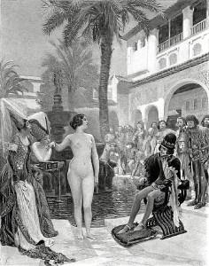 María Padilla, desnuda en el Alcázar de Sevilla frente a Pedro I, en un grabado de Paul Gervais.