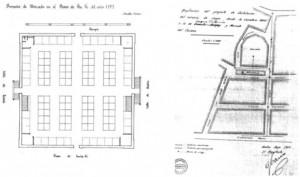 Comparativa entre el Mercado de Santa Fe, 1899 y Mercado del Carmen, 1866  (AHM. Huelva).