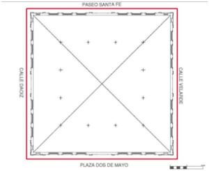 Mercado de Santa Fe, Planta Baja.  Planimetría anteproyectos (J. Hernández/M. Dabrio).