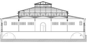 Mercado de Santa Fe. Sección. Planimetría anteproyectos (J. Hernández/M. Dabrio) .