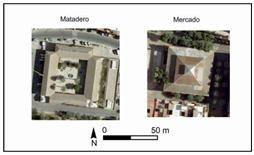Comparativa en vista aérea de los edificios del Matadero y del Mercado   (R. Rodríguez a partir de fotos aéreas municipales).