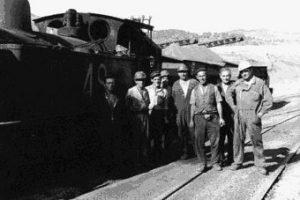 Trabajadores que utilizaban el ferrocarril./Foto: www.culturadeandalucia.com