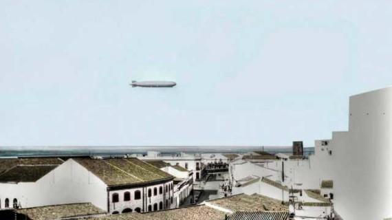 Primer vuelo del dirigible LZ 127 'Conde de Zeppelin' sobre Huelva capital en la década de los veinte del siglo XX