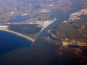 Imagen aérea del río Guadiana.