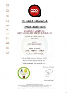 Certificado que avala la calidad de los churros de Churrería Miguel.