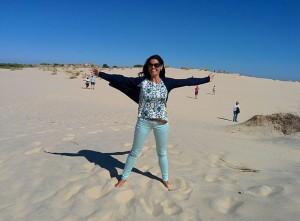 Laura, en las dunas de Doñana, un verdadero paraíso de la provincia.