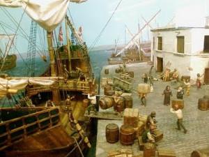 Recreación de la salida de las Carabelas desde el Puerto de Palos. / Foto: antropologica-mente.blogspot.com.es.