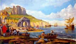 Pintura de Evaristo Domínguez, que recrea el antiguo Puerto de Palos.