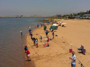 El concurso de pesca infantil contó con una gran participación.