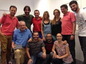 El actor, con los participantes en el taller de los Cursos de Verano de la Onubense.