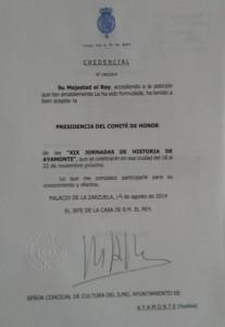 Carta de la Casa Real.