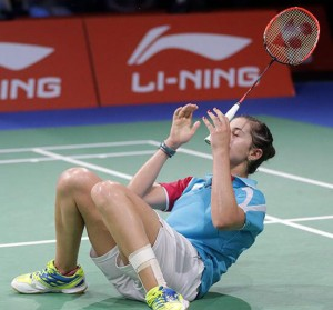 Carolina Marín celebra su triunfo ante la taiwanesa. / Foto: Badminton Photo.