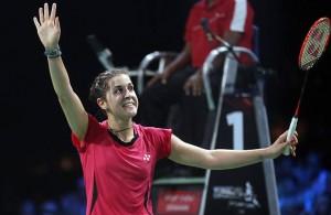 Carolina Marín, muy feliz tras su triunfo ante la india y su clasificación para la final del Mundial. / Foto: Badminton Photo.