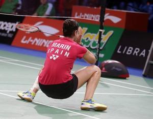 Así celebró Carolina un fantástico último punto ante Sindhu. / Foto: Badminton Photo.