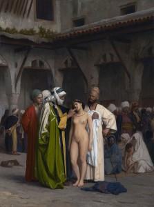 Pintura que recrea un mercado de esclavos.